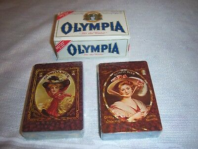 Sealed Olympia Beer Playing Cards Victorian Pin-up Girls New Box Vintage 2 Decks