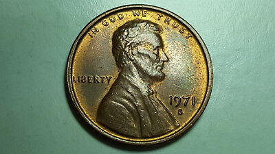 1971 S Lincoln Memorial Cent Obverse Machine Doubling Die on Date Error Coin