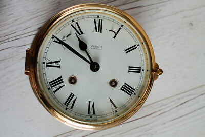 Fyrkat Vintage Marin Brass Ships Clock counts the ship bells - NO RESERVE