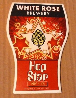 Beer pump clip badge front WHITE ROSE brewery HOP STAR cask ale Yorkshire