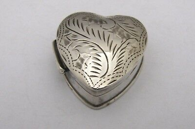 """Sterling Silver Vintage Etched Heart Shaped Box PillBox Trinket Small 1 1/8"""""""