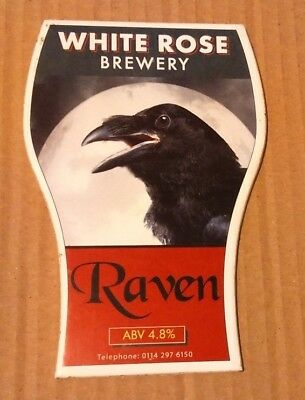 Beer pump clip badge front WHITE ROSE brewery RAVEN cask ale Yorkshire