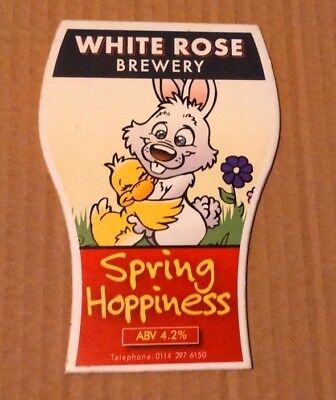 Beer pump clip badge front WHITE ROSE brewery SPRING HOPPINESS cask ale