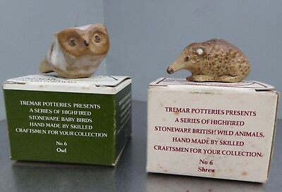 Tremar Pottery, 2 x boxed animals, Baby Owl and a Shrew both in v.g.c.