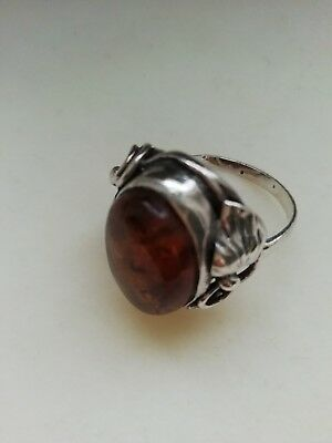 Cognac Baltic Amber 925 Sterling Silver Ring