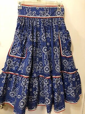 Rock a Billy Square Dance Skirt  Western  Full Circle Size S/M adjustable VLV