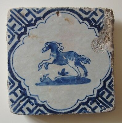 "17th Century DUTCH DELFT TILE ""HORSE"""