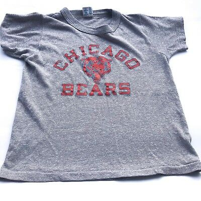 VTG Kids 70s Grey Chicago Bears NFL Retro Sportswear Original T Shirt Top 4 5 Y