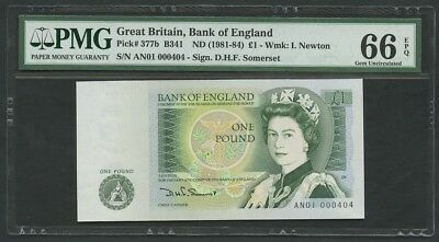 BANK OF ENGLAND  QEII  Somerset  £1  AN01 000404  B341  Uncirculated  Banknotes