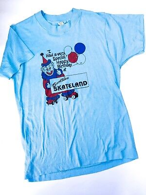 VTG Kids 70s Scotties Skateland Birthday Party Graphic Clown T Shirt Top 10-12 Y