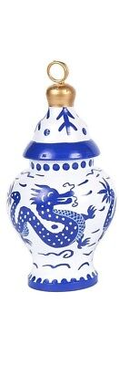 New Chinoiserie Dragon Blue  Ginger Jar Ornaments place card holder 6 1/2 inch