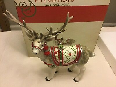 Fitz and Floyd Winter White Holiday Deer Figurine