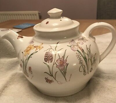 Vintage Runton Pottery Teapot Signed By Helen Phillips, Daffodils & Insects