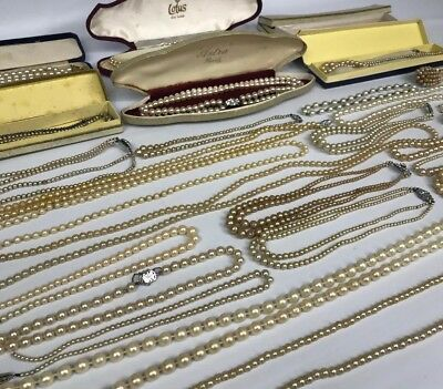 Vintage Antique Real & Faux Pearl Necklaces - Large Job Lot Of Approx 28
