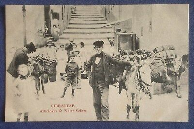 Vintage Postcard. Gibraltar. Artichokes and Water Sellers.  (A12)