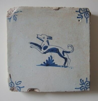 "17th Century DUTCH DELFT TILE ""JOLLY DOG"""