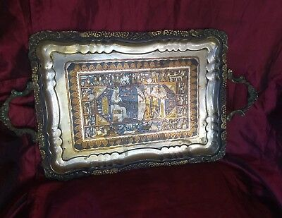 Rare Antique Tray , marked on back , great treasure  . Picture of Egyptian's