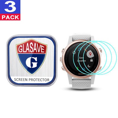 (3 Pack) GLASAVE Tempered Glass Screen Protector Film Save For Garmin fenix 5S