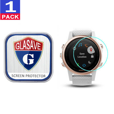 (1 Pack) GLASAVE Tempered Glass Screen Protector Film Save For Garmin fenix 5S
