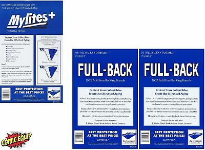 100 Mylites+ STANDARD Mylar Bags & Full Back Board COMBO 725M+/700FB by E.Gerber