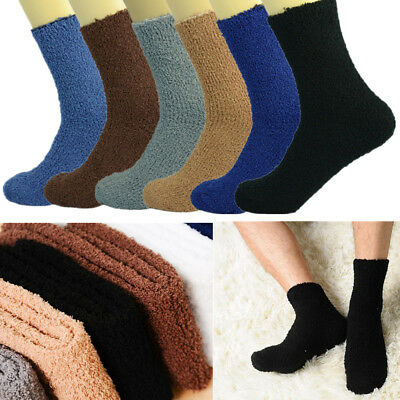 3-10 Pairs For Mens Soft Cozy Fuzzy Socks Solid Winter Home Slipper Size 9-13