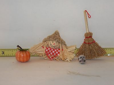 Scarecrow Fall Halloween Pumpkin Skull Broom Garden Autumn Dollhouse Miniatures