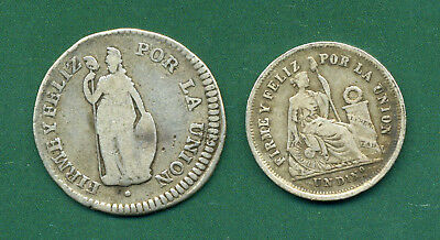 1834 Peru One Real And 1866 One Dino.