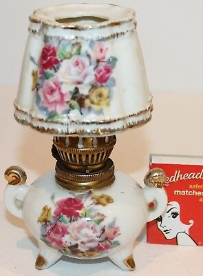 Pink Roses Spirit Lamp Shade White Ceramic Gilt Brass Fittings Floral Ornament