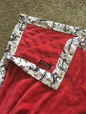 Trend Lab Dr. Seuss Cat in The Hat Framed Receiving Blanket Red White 30 x 38""