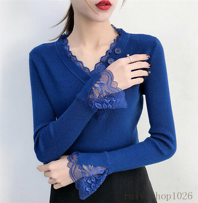Fashion Women Ladies Lace Button V Neck Jumper Stretch Thermal Knit Sweater Tops