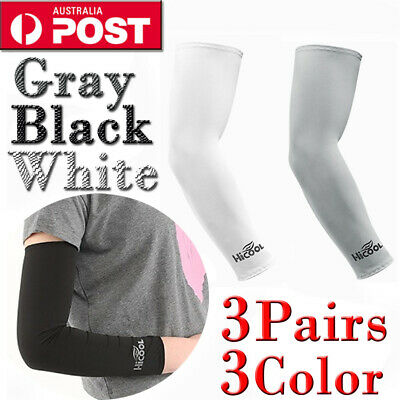 3Pairs Cooling Sport Arm Stretch Sleeves Sun UV Protection Covers Golf Cycling