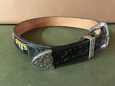 "Vintage Billy Belts California Tooled Leather Belt Hand Seed Beaded 37"" Western"