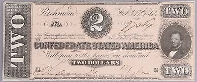 1864 T-70 G $2 Two Dollar Confederate Currency Bill Richmond Note *CIVIL WAR*