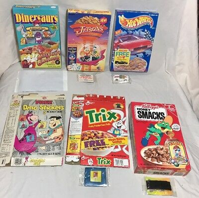 Vintage Rare Lot Cereal Boxes Lot 6 w Toy/prize Hot Wheels Jetsons Honey Smacks
