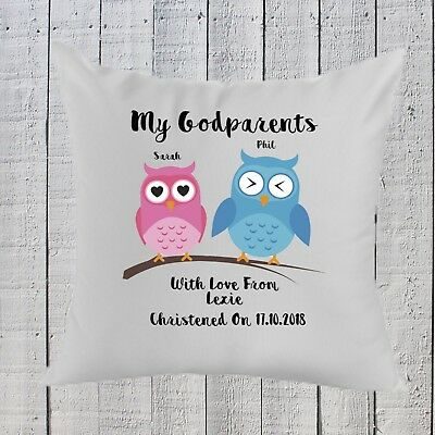 Personalised Godparent Gift Pillow Christening Present  Birthday Christmas Gift