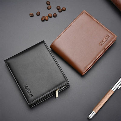 New Mens Black Genuine Leather Trifold Wallet ID Window Credit Card Case Holder