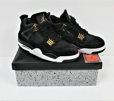 new concept 8b12a 86f7a AIR JORDAN RETRO 4 Royalty Black Metallic Gold 308497-032 Size 9.5