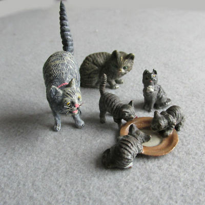 Collection Vienna Bronze Cats, Kittens, Miniature Cat Figurines, Doll House