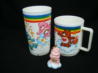 Care Bears Cups & Key chain LOT of 3 American Greetings 1983