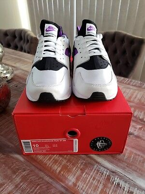 5b9e62b66c86a NIKE AIR HUARACHE Run 91  Qs Black Purple White Size 10 -  84.99 ...