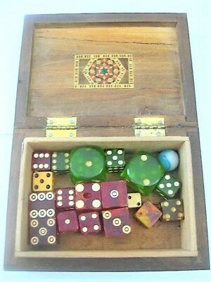 Vintage  DICE  Die   in vintage inlaid Box  Plastic Bakelite  Bone  LOT
