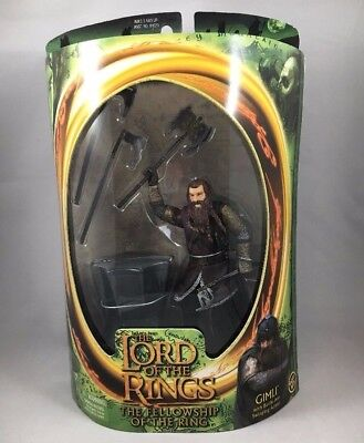 Lord Of The Rings Fellowship Gimli Dwarf Action Figure Toy Battle Axe 2001