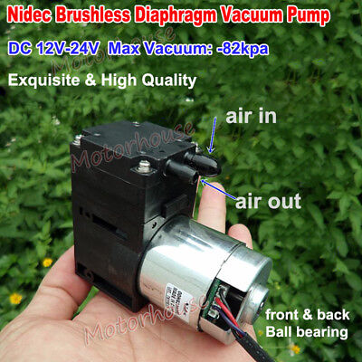 Nidec DC 12V-24V Brushless Diaphragm Vacuum Air Pump Negative Pressure -82kpa