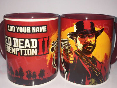 Red Dead Redemption 2 MUG PERSONALISE Add your Name Maroon Mug And Handle New
