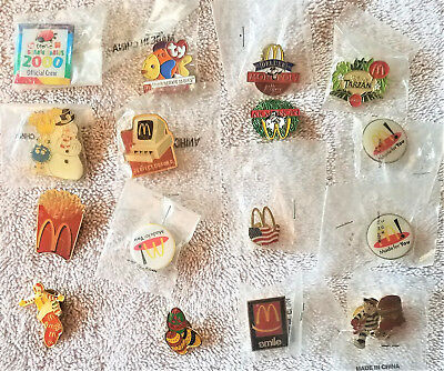 Lot Of 16 Vintage Mcdonalds Lapel Hat Pins New In Packaging
