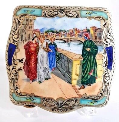 Vintage Italy 800 Silver Hand Painted Compact UNIQUE Outdoor Scene. Hallmarked