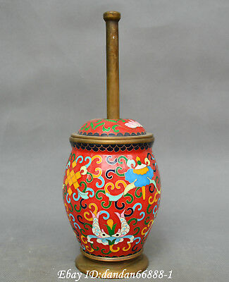 China cloisonne old bronze Rich wealth flower statue Drug dispenser Tamping tank