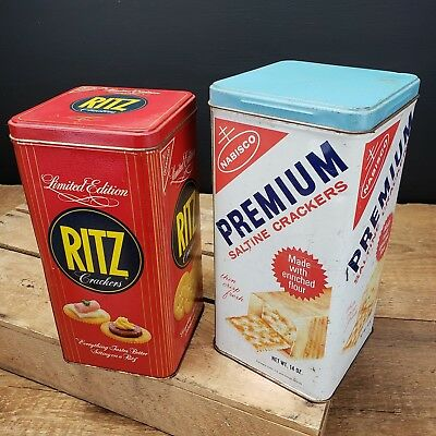 LOT OF TWO Vintage Nabisco Saltine Ritz Cracker Tin Advertising Cans 1969 & 1986