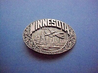 MINNESOTA Belt Buckle-Geese/Forest/Hunting/Fishing-Indiana Metal Craft
