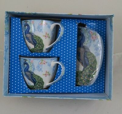 2 Cups & 2 Saucers Fine Bone China Peacock Round Edge Xmas Gift With Box